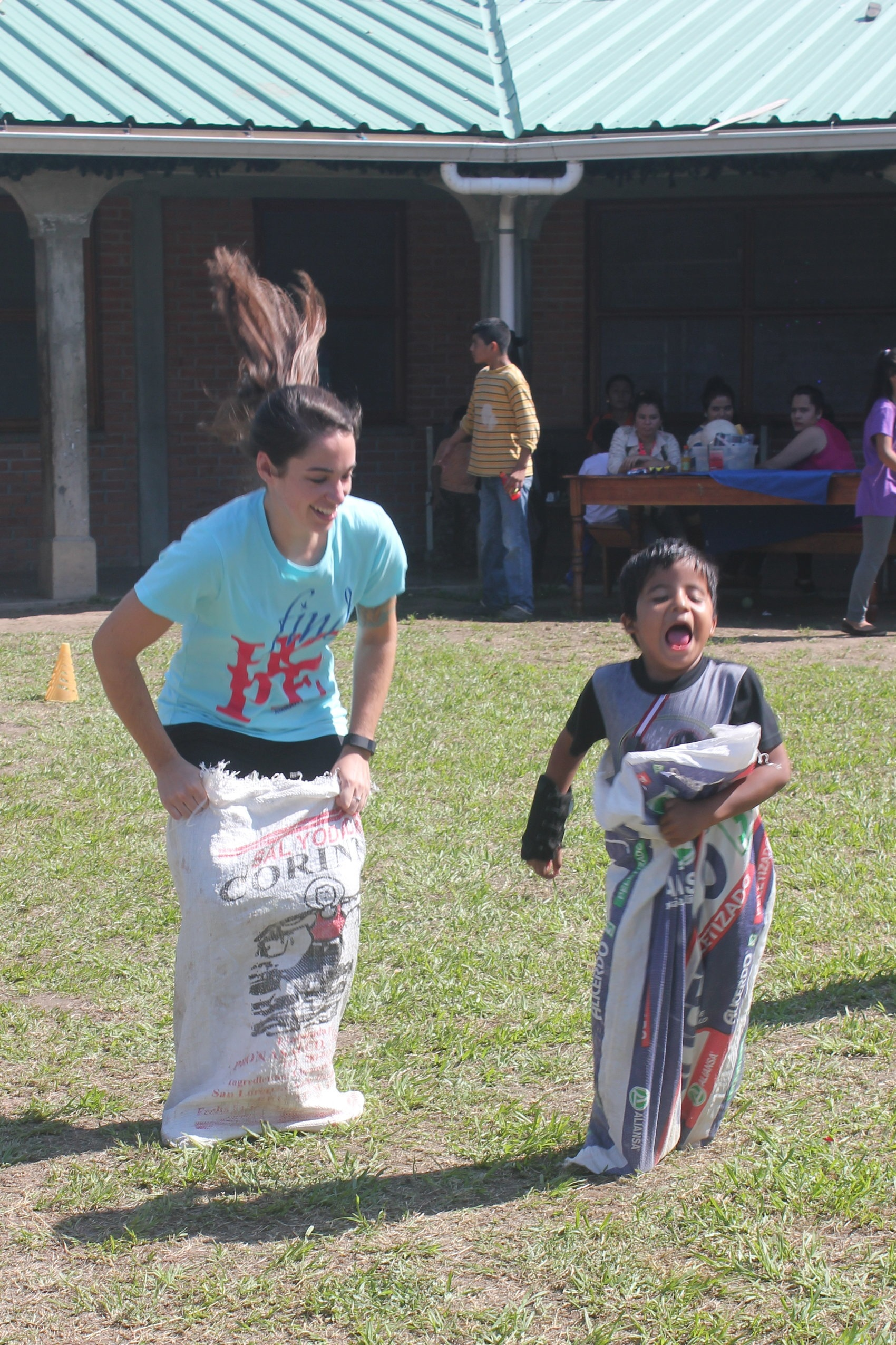 Giving it his all in the gunny sack race.