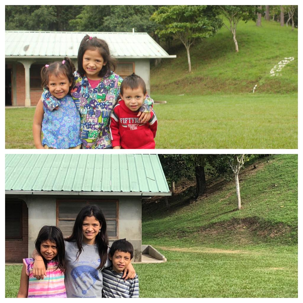 So much fun to recreate this photo with Clarisa* and her siblings! Look how much they've grown!