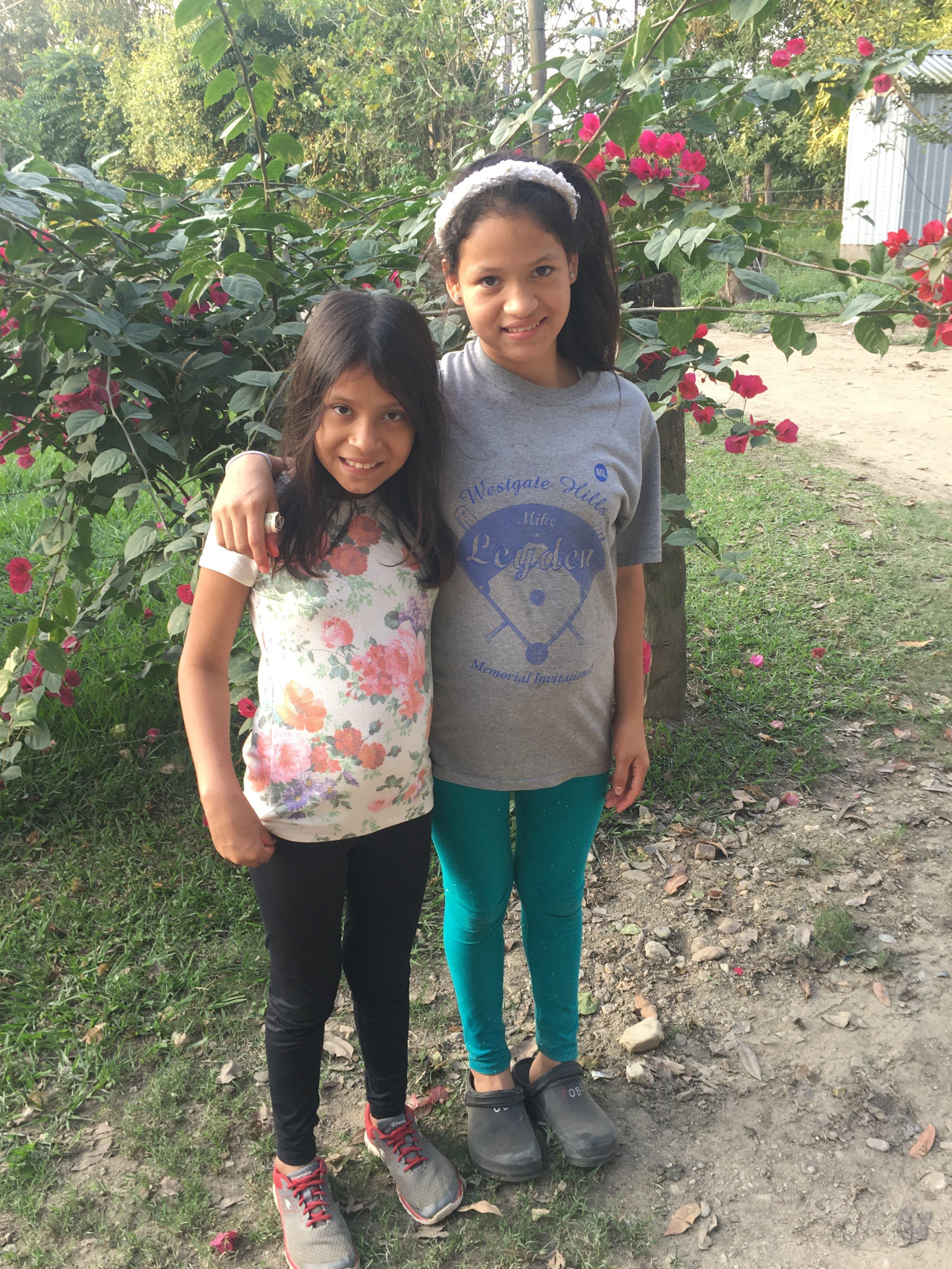 Enjoying a birthday walk with her sister.
