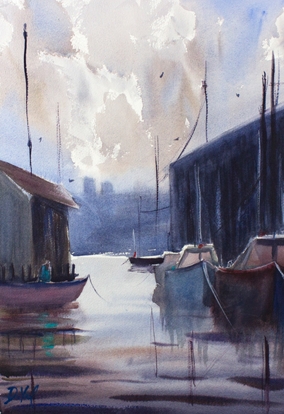 Gloucester Harbor I, watercolor on paper