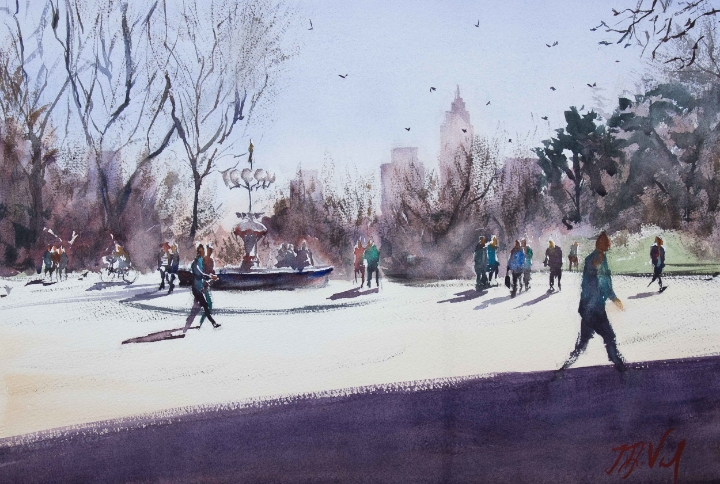 Central Park II, watercolor on paper