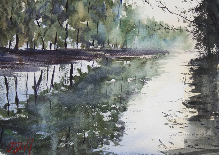 Orlando Morning ,watercolor on paper
