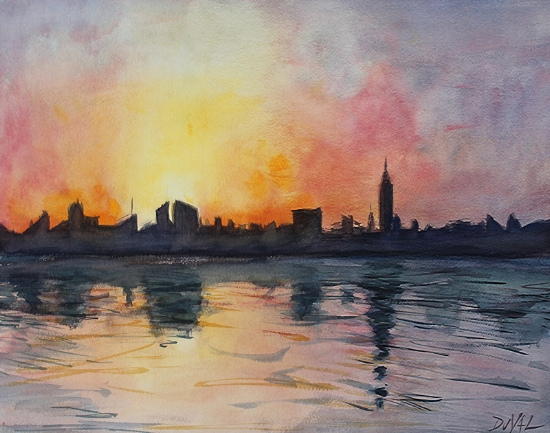 My first real foray into watercolor painting with a more impressionistic style. A simple cityscape, but this helped changed the way I work.