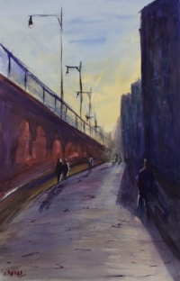 Another early painting - uptown Hoboken.