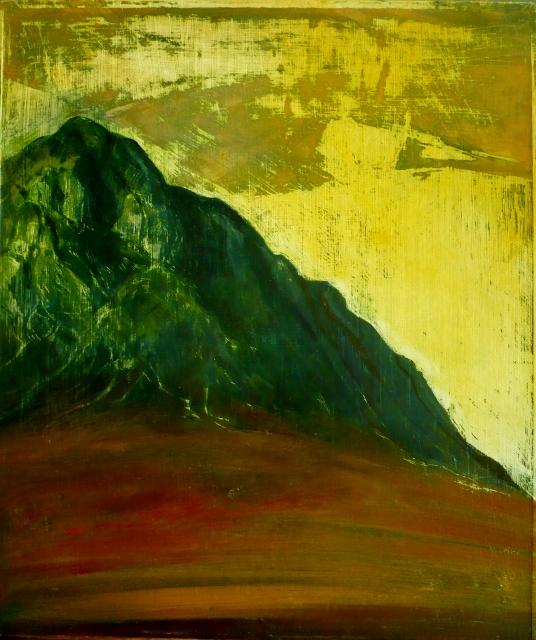 Mountain Gold - oil on board 32cm x 27cm