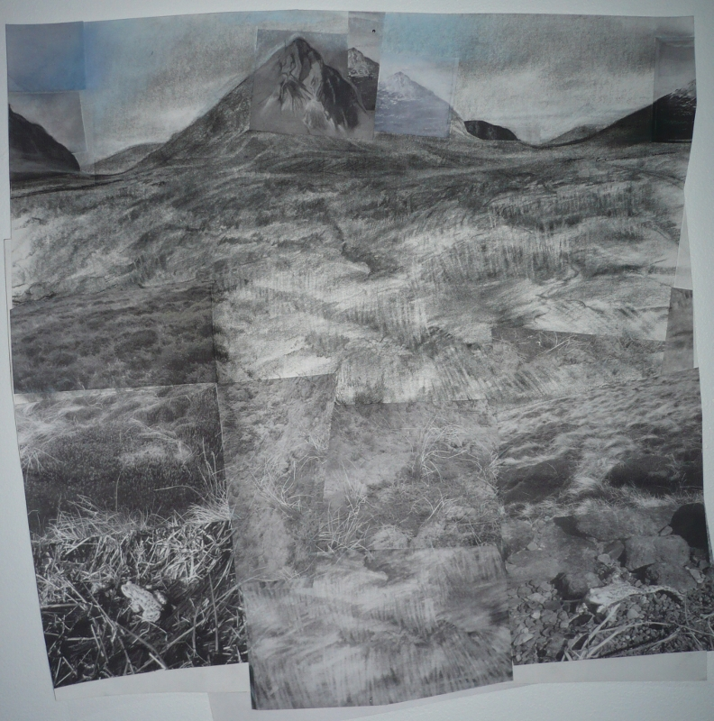 Across Rannoch - charcoal/pastel and digital print 80 x 85cm