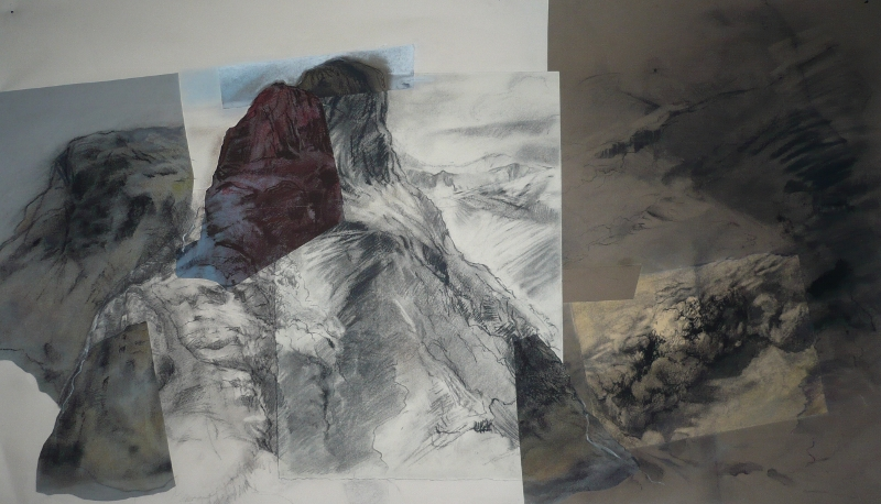 Three Sisters, a Walk charcoal and pastel 35 x 70cm