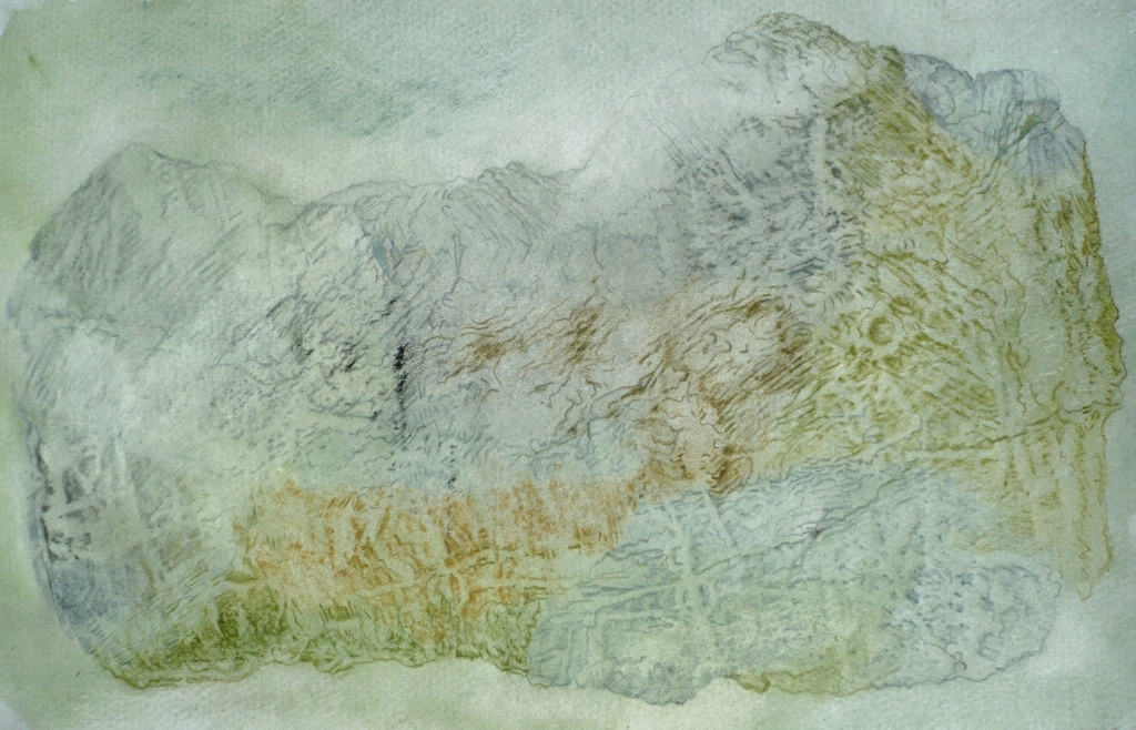 Rock Map - coloured pencil on watercolour 27 x 17cm