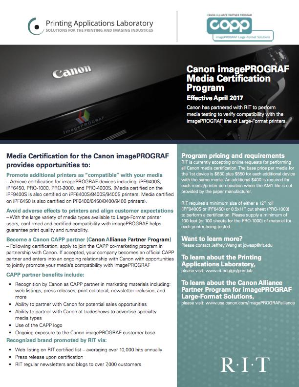 Canon imagePROGRAF Media Certi cation Program