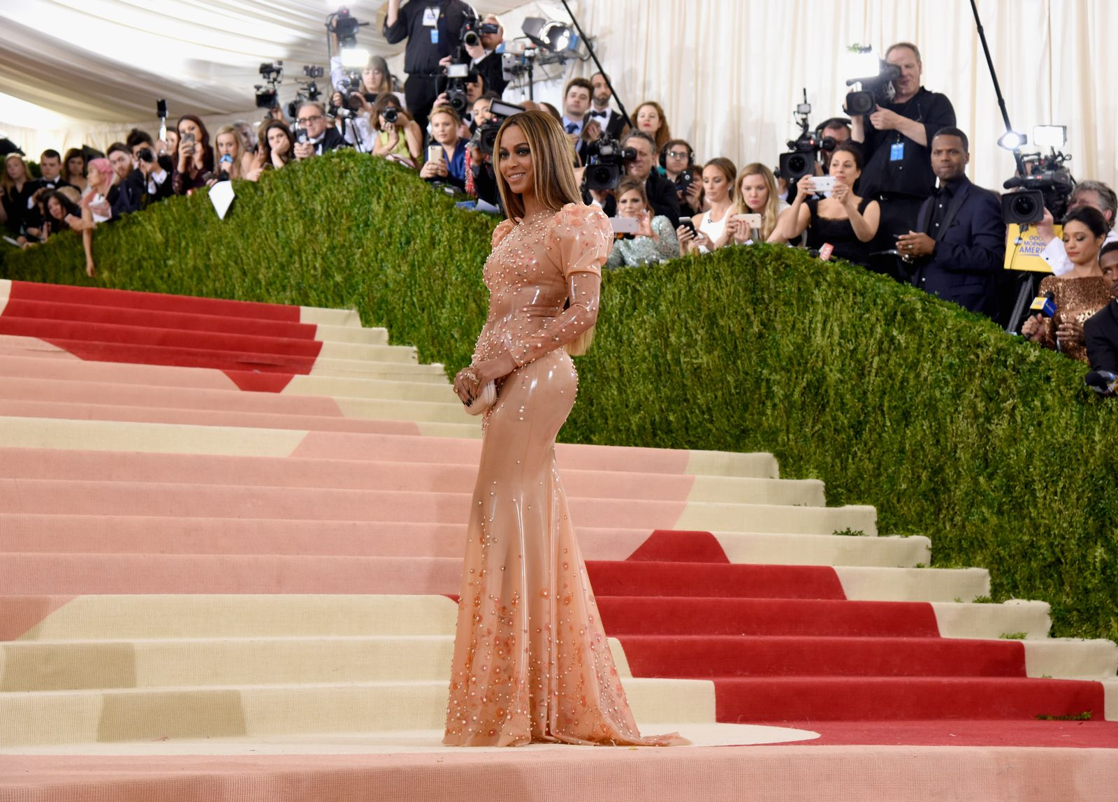 Beyoncé wears a latex-like gown by Givenchy.  Photo: Larry Busacca/Getty Images