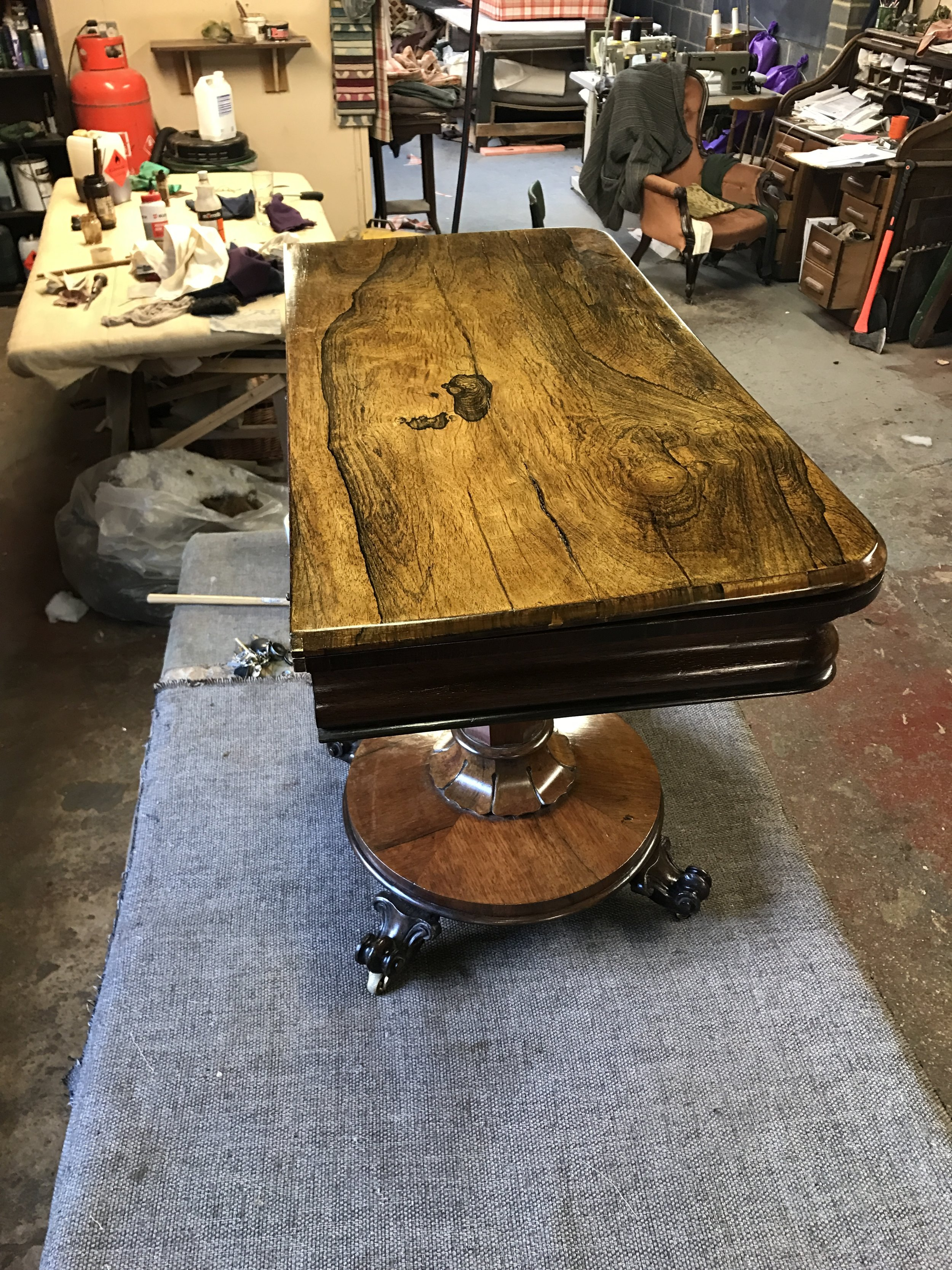 Phoenix Upholstery, Bedford, French Polishing, - Cards Table, Example 2