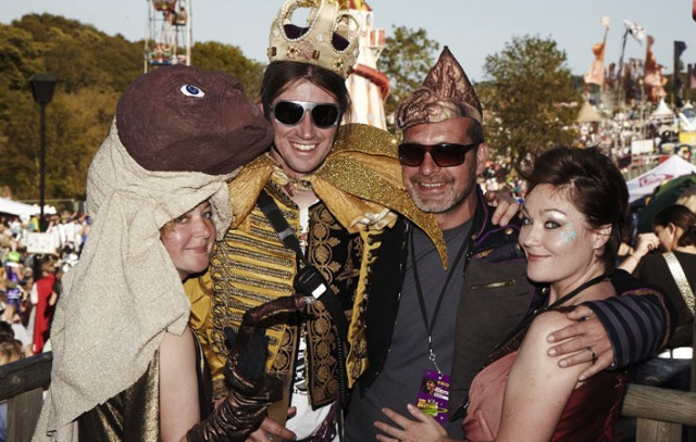 Josie Best Rob da Bank and friends styled in Prangsta Costumiers at Bestival