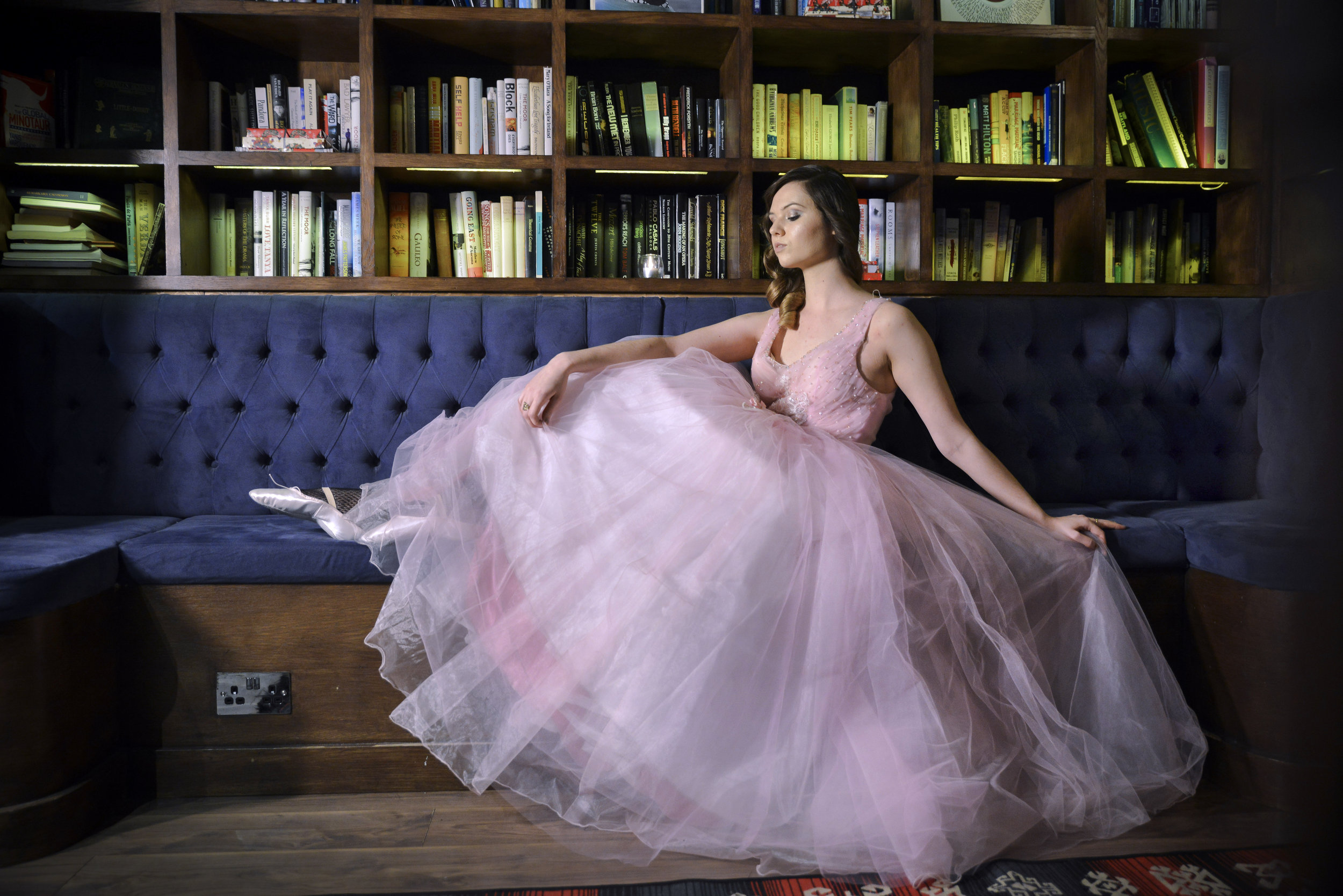 Opera singer Katie Morel-Orchard photographed by Stephen Brockerton at  The Library  private members' club