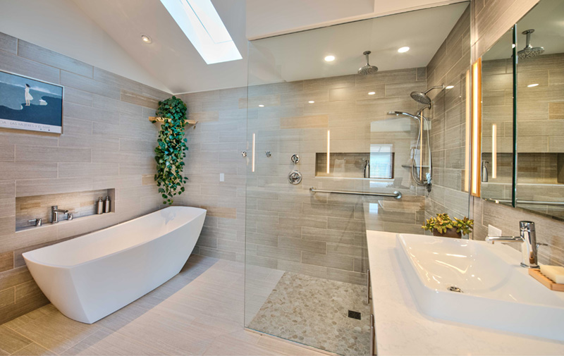 After: A modern and bright bathroom that would make anybody's morning routine energizing.