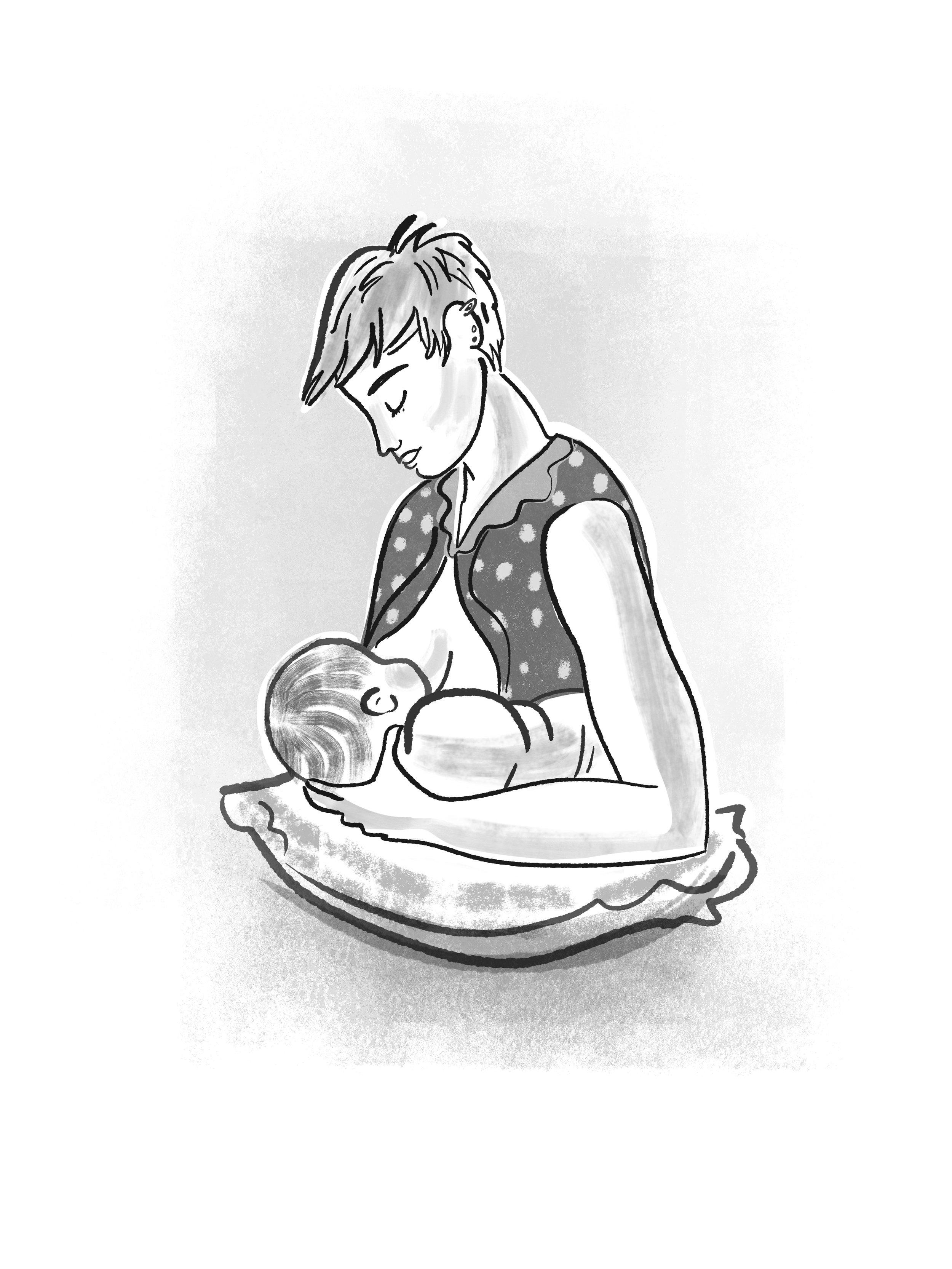 Penguin Pregnancy football hold.jpg