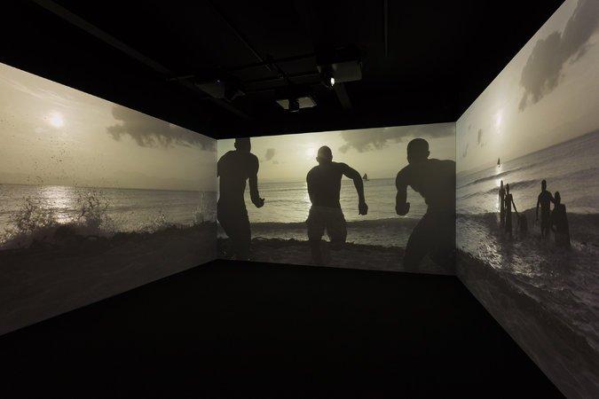 """Narrenschiff,"" (Ship of Fools), a three-channel digital film"