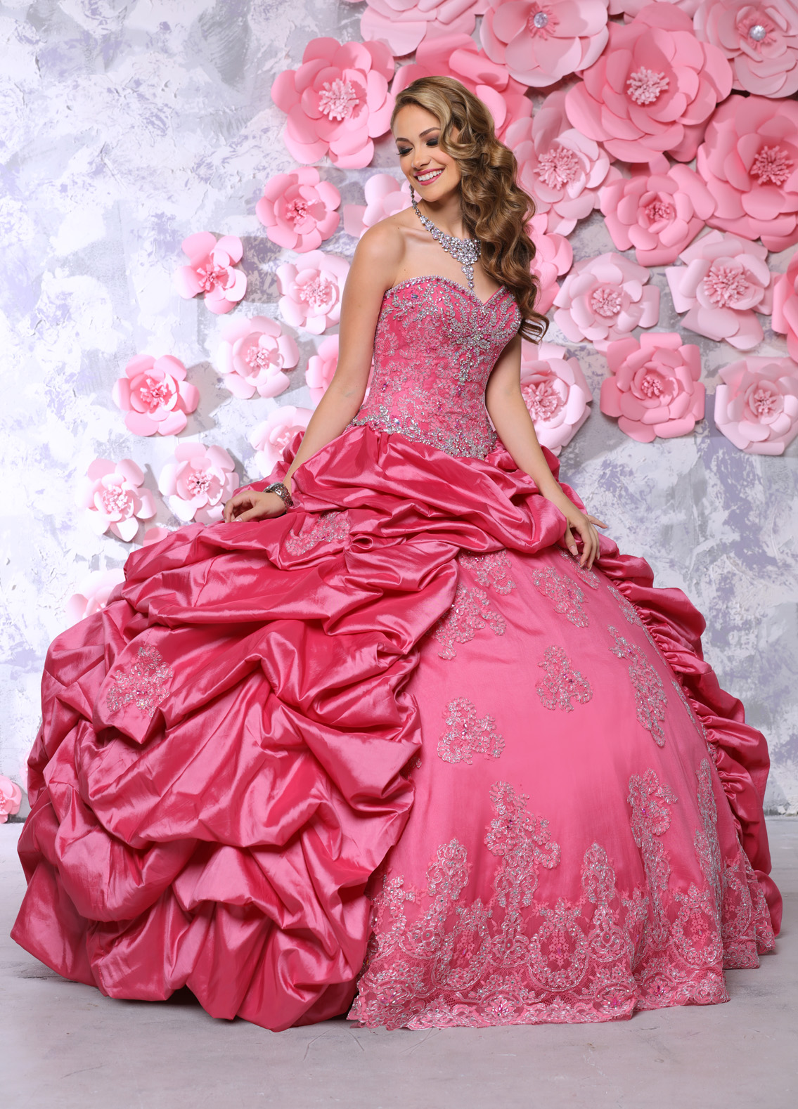 Gown and Picture by Q by DaVinci | Style 80302 | Color Melon | Two-style ballgown skirt