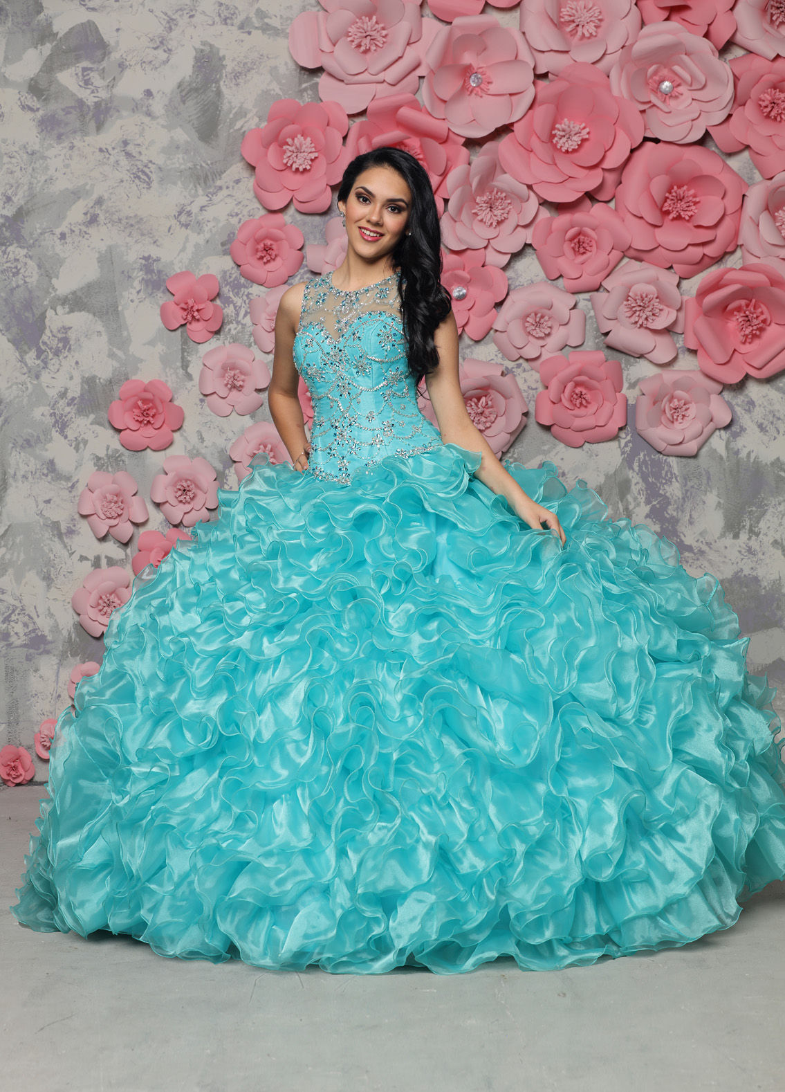Gown and Picture by Q by DaVinci | Style 80308 | Color Tiffany | Organza Ballgown Skirt