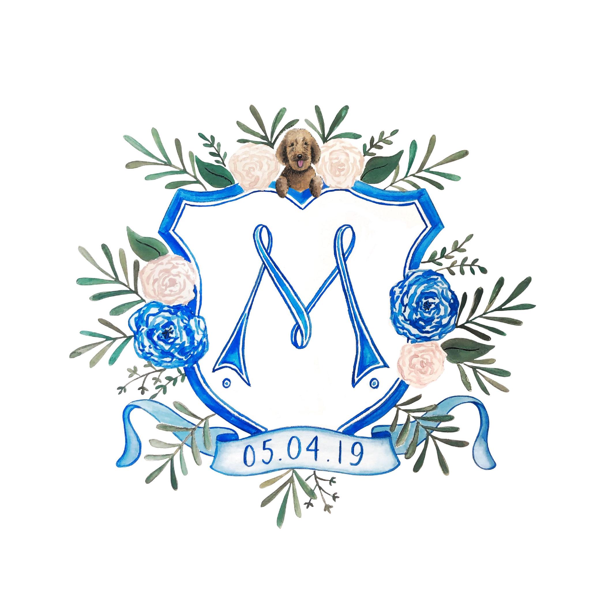 Watercolor wedding crest logo