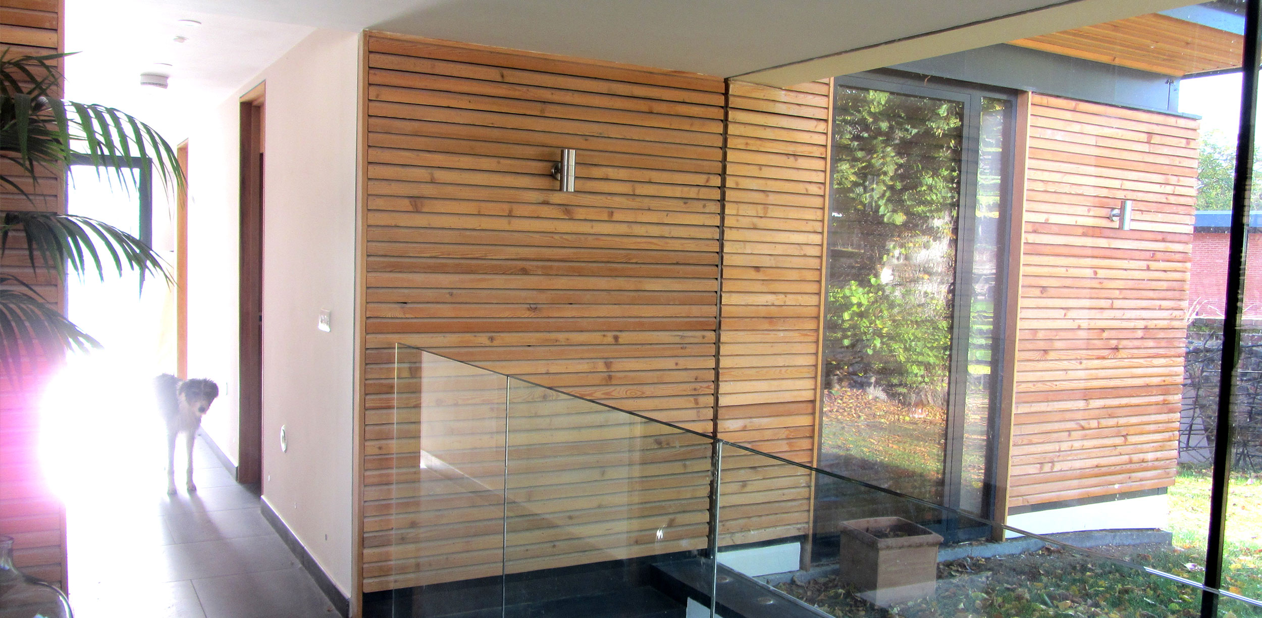 The cladding is extended into internal spaces