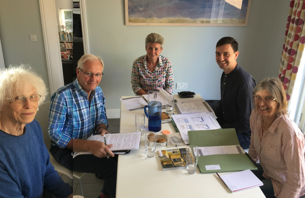 Concept design meeting. Left to right:  Bob Jackson (GMWCIC), Ralph Carpenter (Modece), Sarah Quinlan (GMWCIC), Matthew Bell (Modece) and Juliet Bullimore (GMWCIC).