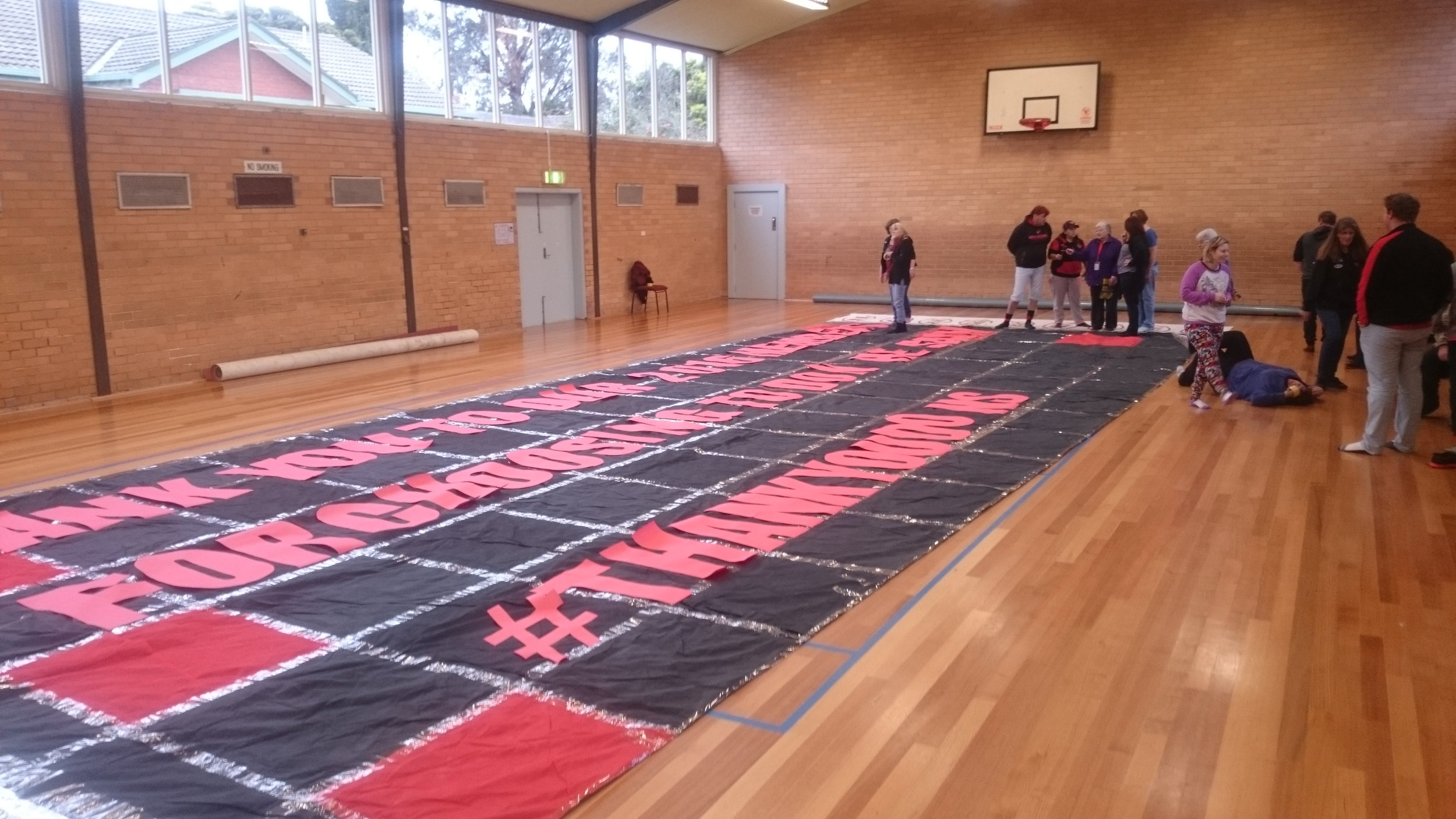 The banner-making at Doutta Gala Community Hall.