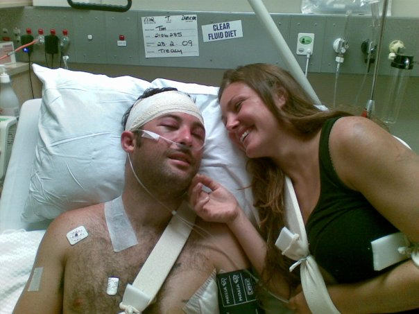 Tim and Hannah after the accident.