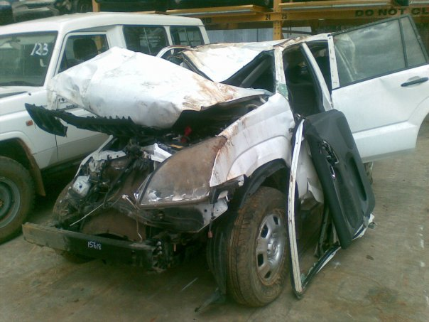 The Toyota Prado post-crash.