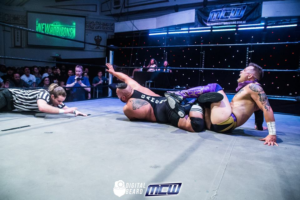 Eagles with Mr Juicy in his submission hold. Picture credit:  Digital Beard