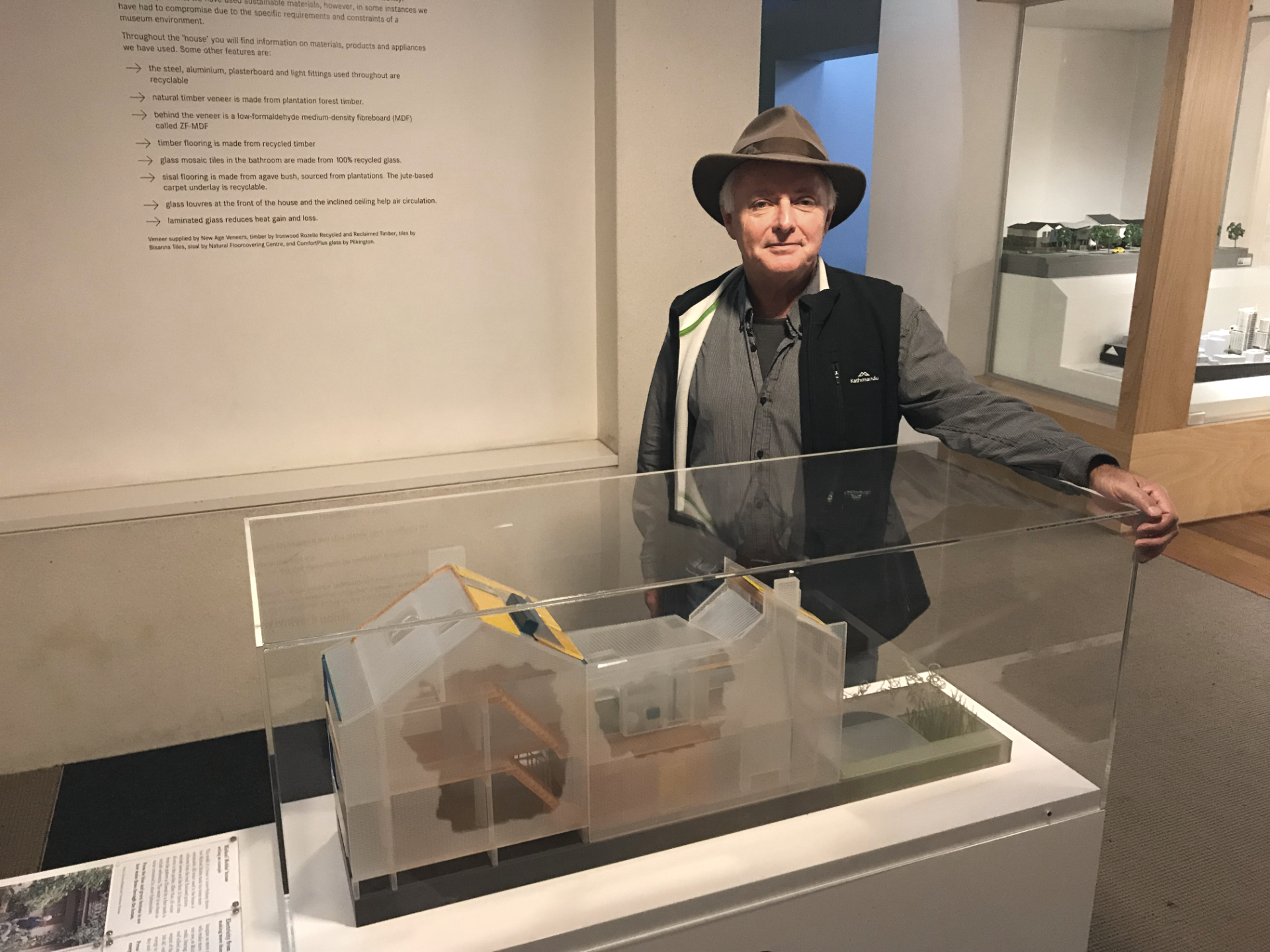 Michael Mobbs with the replica of his energy-saving house at Sydney's Powerhouse Museum. Picture: Cinnamon Nippard