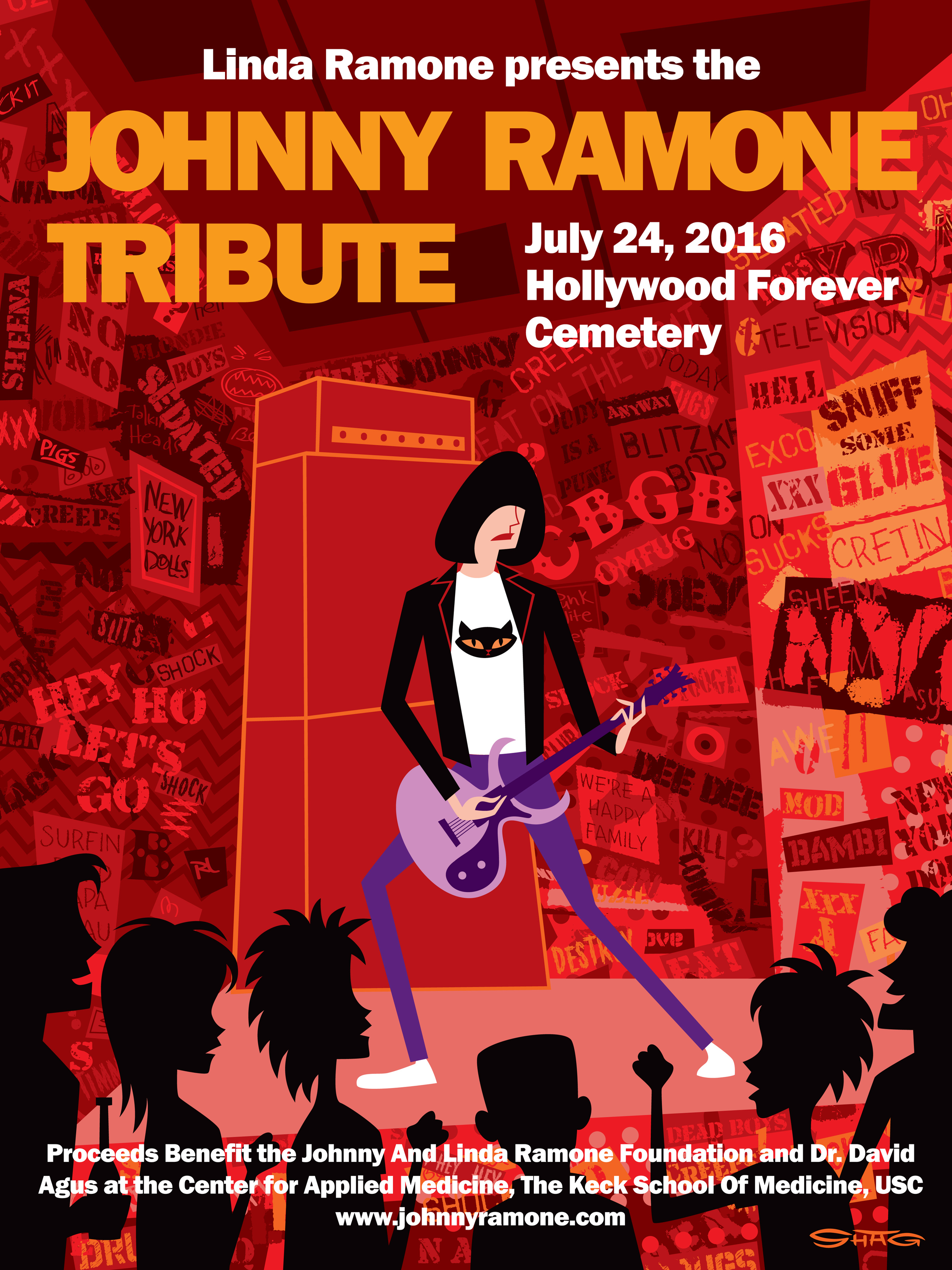 """Henry Rollins, John Doe &Steve Jones   are coming together to celebrate the life and legacy of the one and only Johnny Ramone at Hollywood Forever. Steve Jones is hosting this year's event, Rollins is a special guest, and John Doe will be moderating the Q&A panel discussions with the casts of two of the greatest punk rock movies of all time, Rock 'N'Roll High School and  Ladies and Gentlemen, the Fabulous Stains .  Directed by  Lou Adler  and starring our very own Steve Jones, Ladies and Gentlemen, the Fabulous Stains tells the tale of an all-girl punk band's meteoric rise and fall. Said to have influenced future riot grrrl pioneers such as Courtney Love, Bikini Kill and L7, this is a cult classic you won't want to miss. We will also be welcoming some special surprise guests from the film at the Tribute.  For the first time in over 30 Years,the cast of  Rock 'N'Roll High School will also be reuniting for a very special Q&A panel discussion before the screening of the film! Mary Woronov (Principal Evelyn Togar), Clint Howard  (Eaglebauer), Vince Van Patten (Tom Roberts), will be joining PJ Soles (Riff Randell), """"King of the Bs"""" Roger Corman (producer) and Allan Arkush (director) and the writers of the film, Richard Whitley and Russ Dvonch to share what it was really like filming with Ramones and creating one of punk rock's greatest films.  Also featured is an exhibition of Metallica guitarist  Kirk Hammett 's collection of movie monster memorabilia in the Hollywood Forever mausoleum, Morrison Hotel Gallery's exhibit of Ramones/punk photography, exclusive Ramones merchandise and fans from all over the world.  Tickets are available now at an early-bird discount. Get them while they're only $20  here . Kids under 12 get in free.  Proceeds from the celebration will benefit the  Johnny and Linda Ramone Foundation , supporting Dr. David Agus at the Keck School of Medicine, USC.Find out more  here .Special thanks to our sponsors, KLOS, Cold Cock Whiskey, Punk Rock Militia W"""