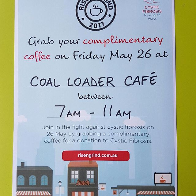 Grab your complimentary coffee May 26 #cysticfibrosis #coalloadercafe