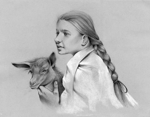 Camille with a Goat   24″ x 30″, charcoal on paper