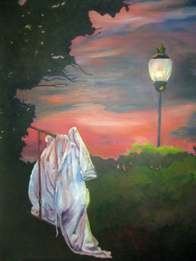 The Robe and the Lamppost   30″x24″, oil
