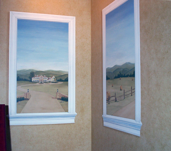 """Trompe L'oeil """"Windows""""   72″ x 36″ each, acrylic on wall"""