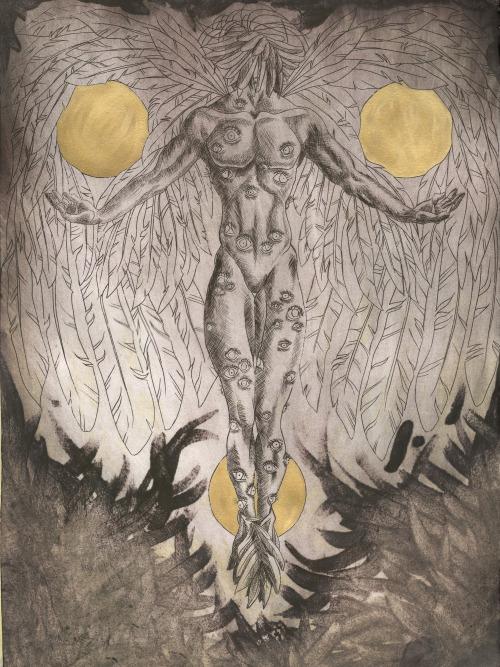 Seraph I: Dark, Monotype, whiting, drypoint etching on Sintra with carborundum, handpainting in gold paint, 24×36