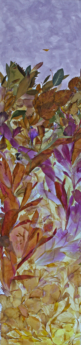 Earth Rising, Summer   32″x8″, giclée of original collage   created with pressed botanicals
