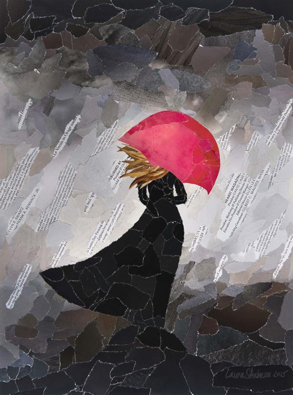 Red Umbrella, magazine paper collage, 11×14