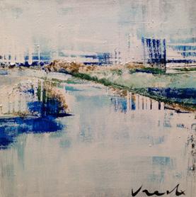 Lazy River I   12″x12″, acrylic painting