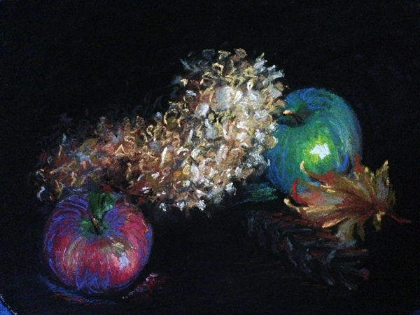 Fall Apples-Black   9″x12″, pastels on paper