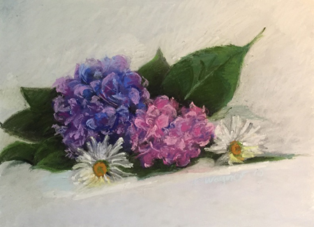 """Pink and Purple Pastel, 14""""x16"""" framed"""
