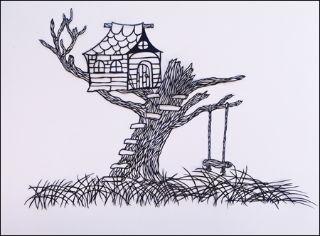 """Treehouse 20""""x 24"""",  hand cut single sheet black paper mounted on white"""