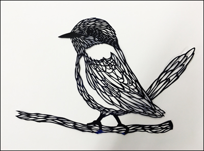 "Chick 9""x12"",  hand cut single sheet black paper mounted on white"