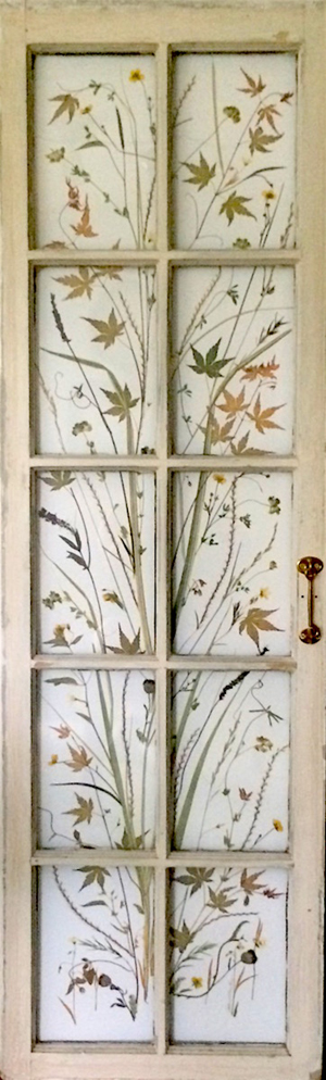 "Perfect View Pressed flowers, grasses & leaves in old French door, 60""x20"""