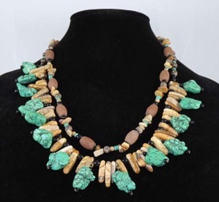Double stranded necklace with jasper, howlite, and stone