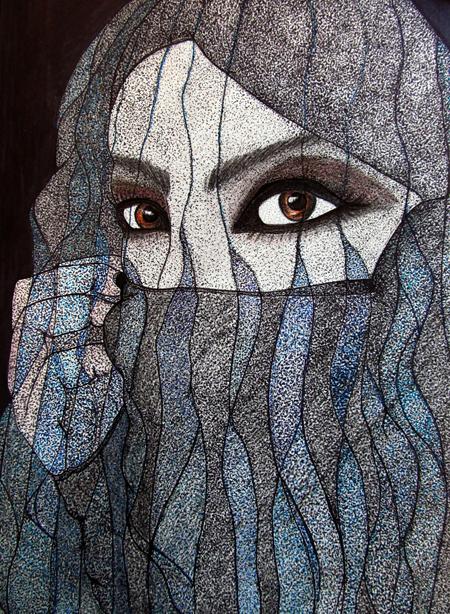 "Veiled Woman of the Wadi Rum Mixed media, 15""x11"""