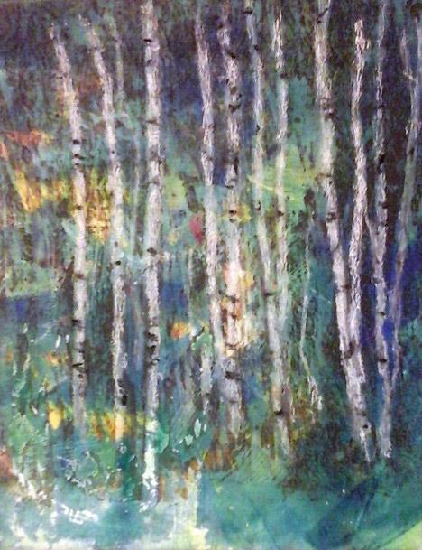 "8x10 ""Birch Trees Abound"" acrylic monotype"