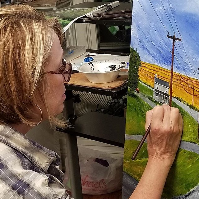 Susan Gast shown here working on painting in her studio looks forward to talking with you about art and painting  at her display on the ARTsee Open Studio Tour.  She'll be at Ross Farm this year Stop #1 135 N. Maple Ave Basking Ridge 12-5 . #oilpaint #paint  #nature #water #raritanvalley #artseetour19 #njartist #nj #njart #artist