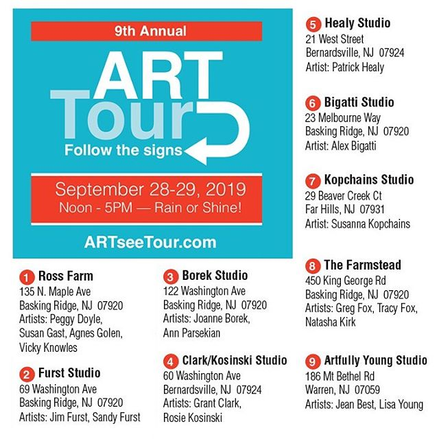 Plan your route for Sept 28th & 29 !!! Visit artseenj.org and select events / open studio Tour for the map