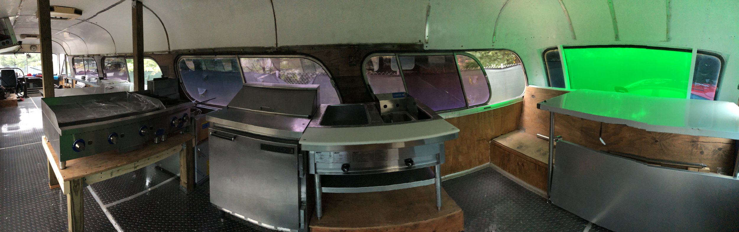 panoramic of the back kitchen in the bus